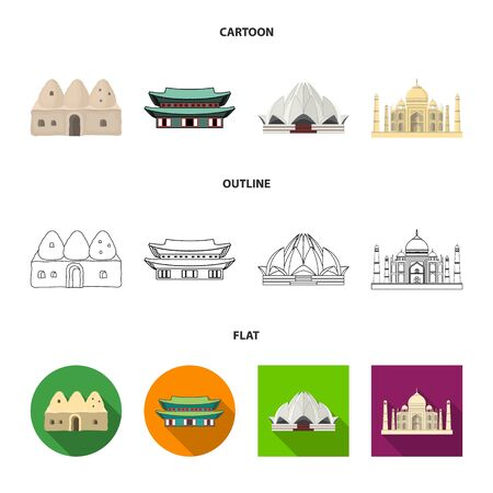Vector design of town and chinatown icon. Set of town and asian stock vector illustration.