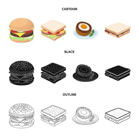 Isolated object of sandwich and wrap icon. Set of sandwich and lunch stock symbol for web.