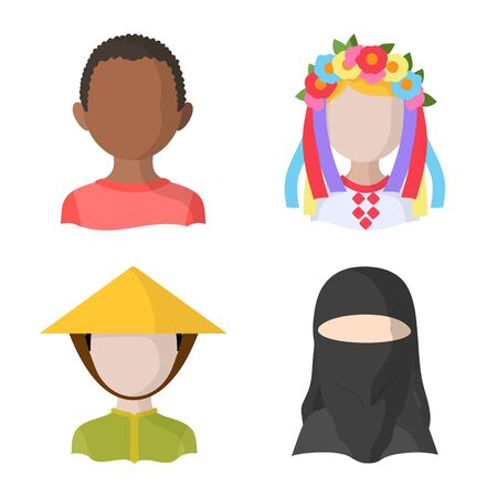 Vector design of nation and race symbol. Set of nation and user vector icon for stock.