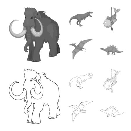 Vector illustration of animal and character symbol. Collection of animal and ancient stock symbol for web. Ilustração