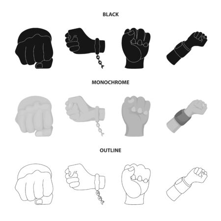 Isolated object of fist and punch sign. Collection of fist and hand stock vector illustration.