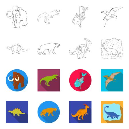 Isolated object of animal and character icon. Set of animal and ancient stock vector illustration.