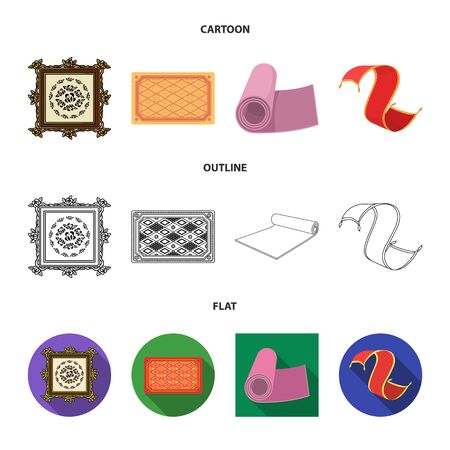 Isolated object of carpet and persian icon. Collection of carpet and border stock symbol for web.