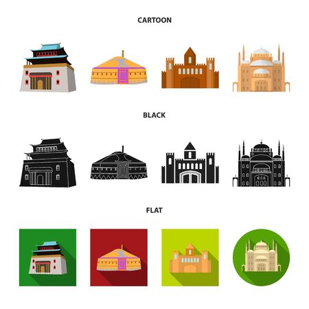 Isolated object of town and chinatown icon. Collection of town and asian stock vector illustration.
