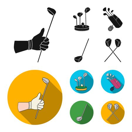 Vector design of and stick logo. Set of and golf vector icon for stock. Illustration