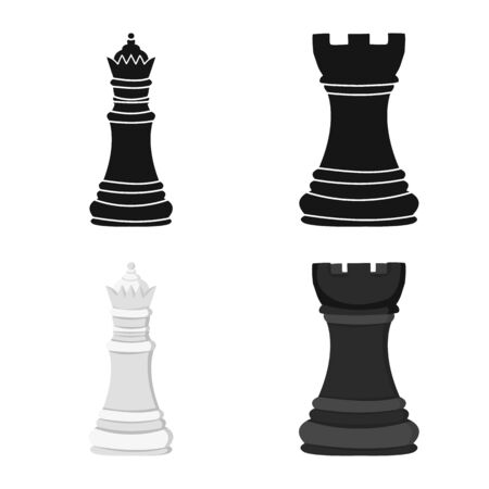 Vector design of checkmate and thin symbol. Set of checkmate and target stock symbol for web. Vetores