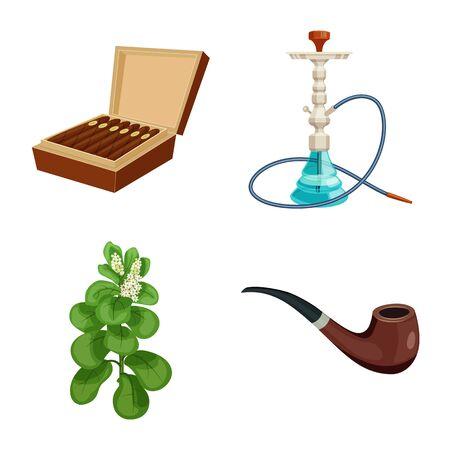 Vector illustration of cigarette and tobacco. Collection of cigarette and nicotine stock vector illustration.