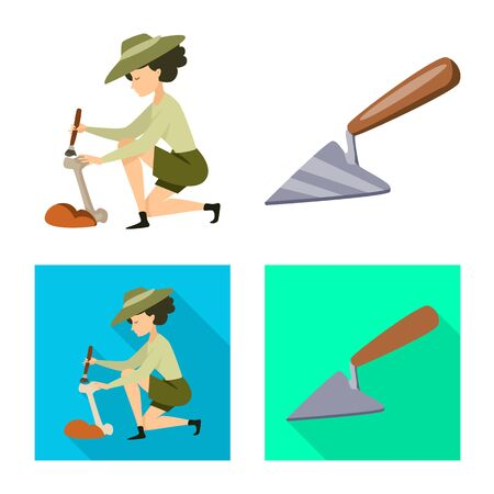 Vector design of story and items . Set of story and attributes stock vector illustration.