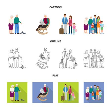 Vector illustration of character and avatar sign. Set of character and portrait stock symbol for web. Ilustración de vector
