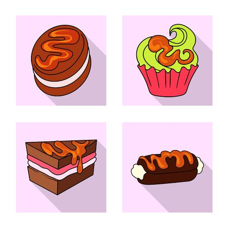 Vector illustration of confectionery and culinary sign. Set of confectionery and colorful stock symbol for web.