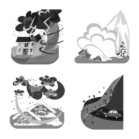 Vector design of nature and apocalypse . Set of nature and environment stock symbol for web.