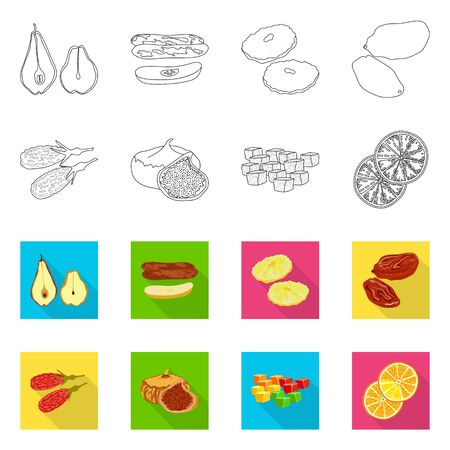 Vector illustration of food and raw sign. Collection of food and nature stock symbol for web.  イラスト・ベクター素材