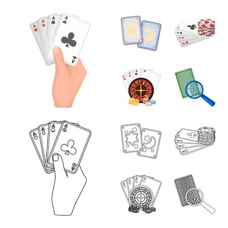 Vector design of game and magic logo. Set of game and poker vector icon for stock. Illusztráció