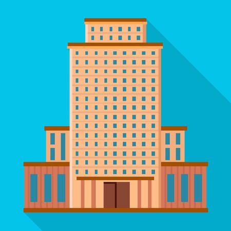 Isoliertes Objekt des Hotels und des hohen Zeichens. Sammlung von Hotel- und Tourismus-Aktiensymbolen für das Web.