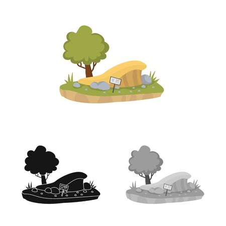 Isolated object of trees and sand icon. Collection of trees and grass stock symbol for web.  イラスト・ベクター素材