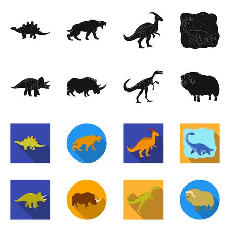 Isolated object of animal and character logo. Collection of animal and ancient vector icon for stock. 일러스트