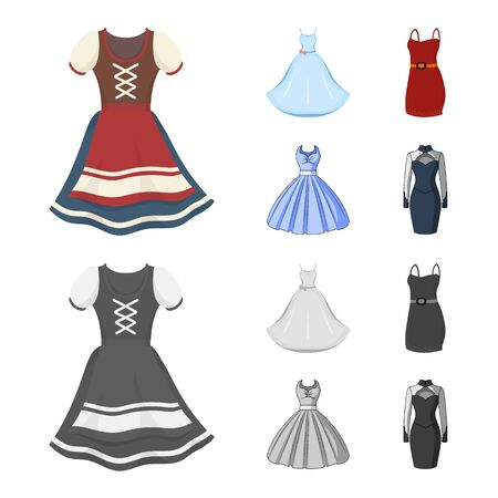 Vector design of dress and clothes sign. Collection of dress and evening stock vector illustration.