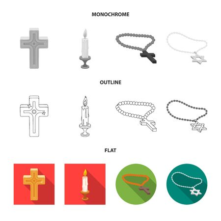 Vector illustration of muslim and items icon. Set of muslim and candle vector icon for stock.