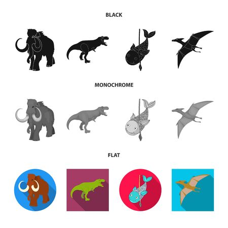 Vector design of animal and character symbol. Set of animal and ancient stock symbol for web. Ilustração
