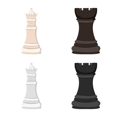 Vektordesign von Schachmatt und dünnem Symbol. Sammlung von Schachmatt- und Zielvorrat-Vektorillustration. Vektorgrafik