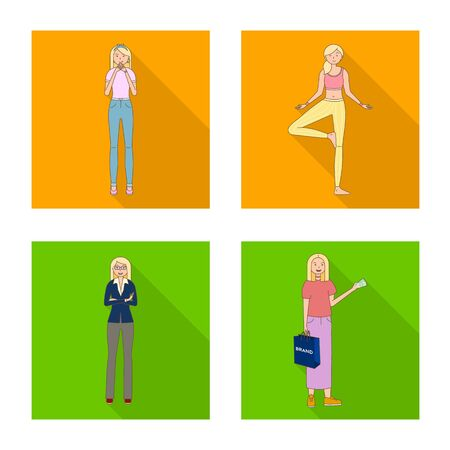 Isolated object of woman and body icon. Collection of woman and style vector icon for stock.