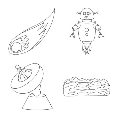 Vector illustration of space and galaxy icon. Set of space and travels stock vector illustration.