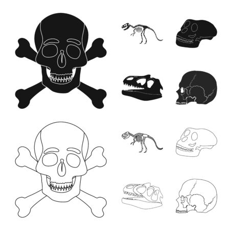 Isolated object of skeleton and character logo. Set of skeleton and halloween stock symbol for web.
