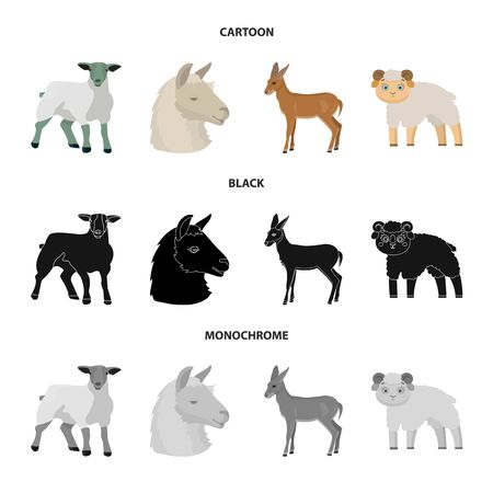 Vector illustration of sheep and goat icon. Set of sheep and happy stock symbol for web.