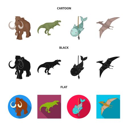 Vector design of animal and character symbol. Collection of animal and ancient vector icon for stock. Ilustração