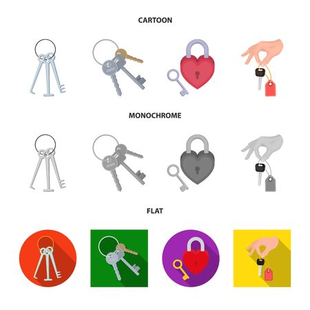 Vector illustration of key and protection symbol. Set of key and security stock vector illustration.