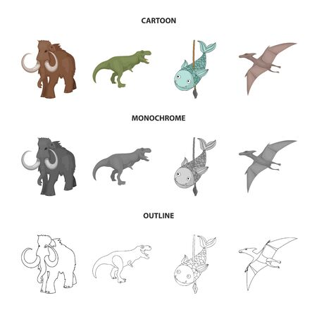 Vector design of animal and character logo. Set of animal and ancient stock symbol for web.
