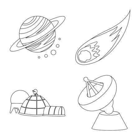 Vector design of space and galaxy sign. Set of space and travels stock symbol for web.