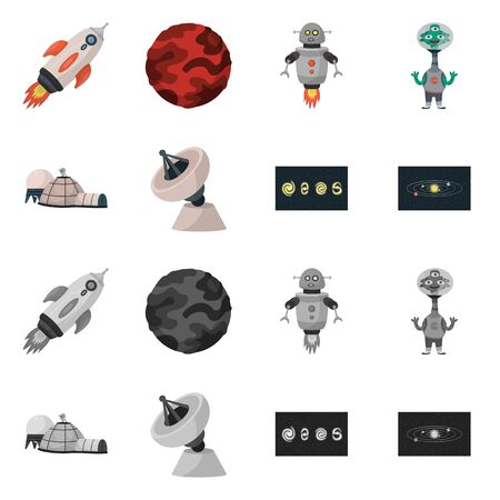 Isolated object of astronomy and technology symbol. Collection of astronomy and sky vector icon for stock.