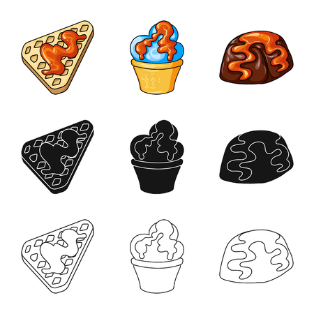 Vector design of confectionery and culinary symbol. Set of confectionery and product stock symbol for web.