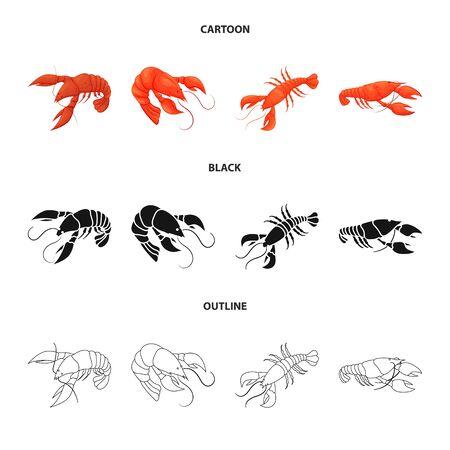 Vector design of appetizer and ocean sign. Set of appetizer and delicacy stock vector illustration.