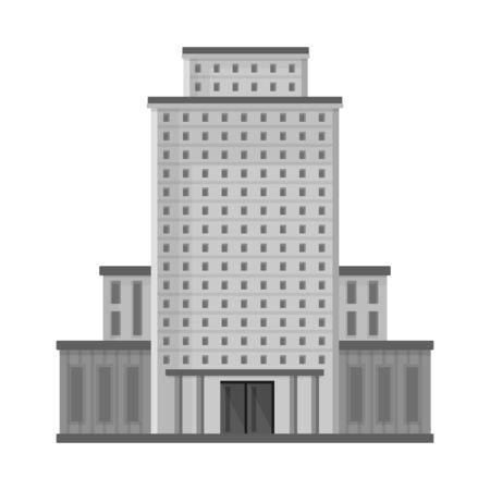 Isoliertes Objekt des Hotels und des hohen Symbols. Satz von Hotel- und Tourismusaktiensymbolen für das Web.