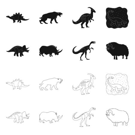Vector illustration of animal and character icon. Set of animal and ancient vector icon for stock. 일러스트