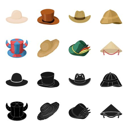 Isolated object of hat and cap symbol. Set of hat and model vector icon for stock.