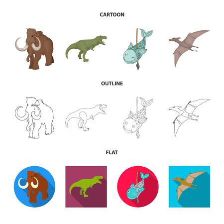 Isolated object of animal and character sign. Collection of animal and ancient stock vector illustration.