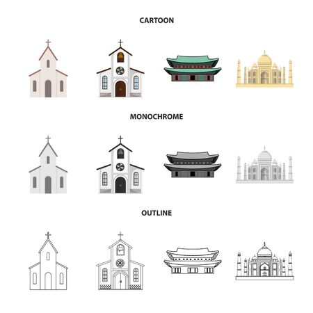 Isolated object of religion and wedding sign. Collection of religion and house stock symbol for web.