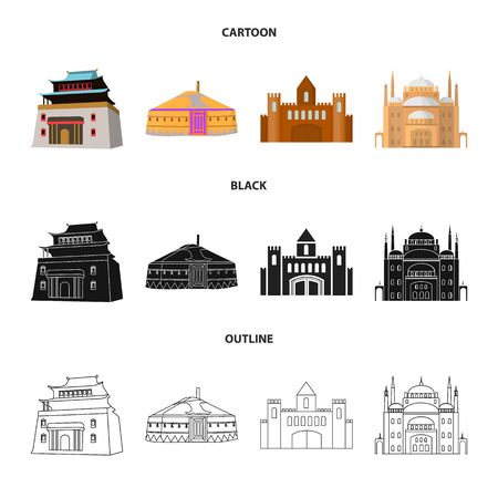 Isolated object of town and chinatown sign. Set of town and asian vector icon for stock.