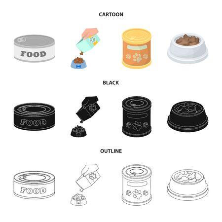 Vector illustration of food and tin symbol. Set of food and bottle vector icon for stock.