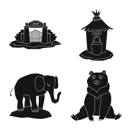 Objeto aislado de fauna y signo de entretenimiento. Colección de fauna y parque stock ilustración vectorial.