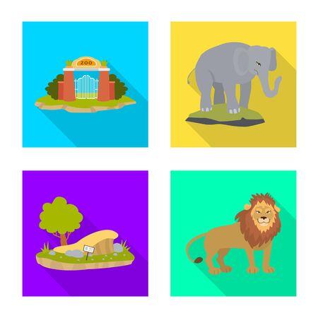 Vector illustration of safari and animal symbol. Collection of safari and fun stock symbol for web.  イラスト・ベクター素材