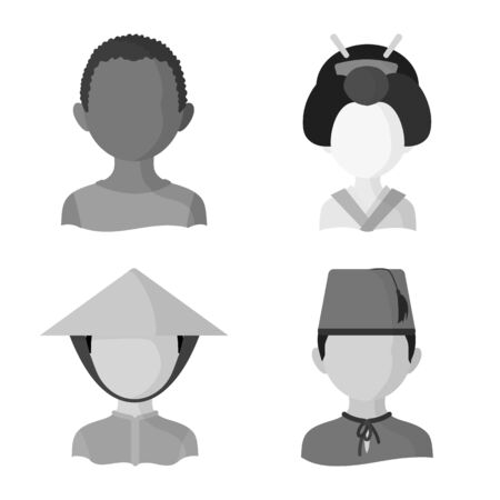 Vector illustration of person and culture symbol. Collection of person and race stock vector illustration. Ilustrace