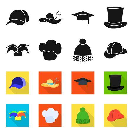 Objet isolé de vêtements et symbole de casquette. Collection de vêtements et béret illustration vectorielle stock.
