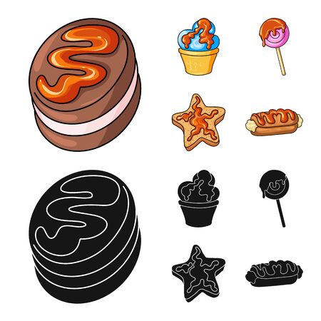 Vector illustration of confectionery and culinary logo. Collection of confectionery and product stock vector illustration.