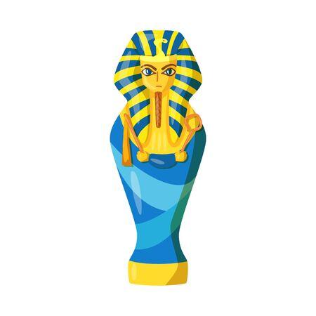Vektor-Illustration von Sarkophag und Pharao-Symbol. Sammlung von Sarkophag- und Grabvektorsymbolen für Lager.