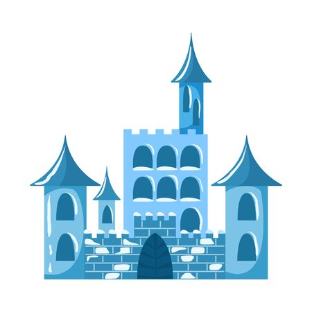 Vector illustration of castle and ice symbol. Collection of castle and sculpture stock symbol for web.
