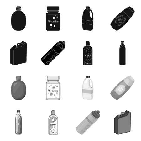Isolated object of plastic and container. Set of plastic and packaging stock symbol for web. Illustration